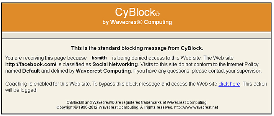 Standard CyBlock Proxy Blocking Message
